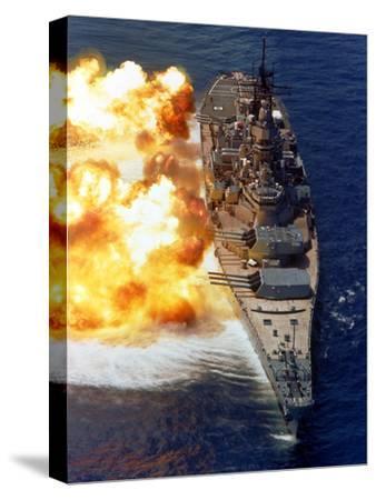 Battleship USS Iowa Firing Its Mark 7 16-inch/50-caliber Guns-Stocktrek Images-Stretched Canvas Print