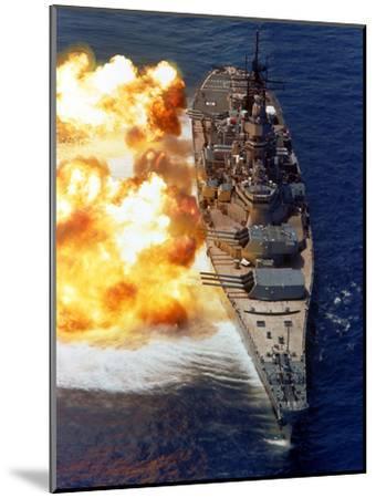 Battleship USS Iowa Firing Its Mark 7 16-inch/50-caliber Guns-Stocktrek Images-Mounted Photographic Print
