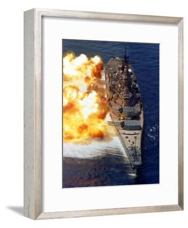 Battleship USS Iowa Firing Its Mark 7 16-inch/50-caliber Guns-Stocktrek Images-Framed Photographic Print