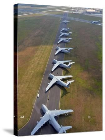 C-5 Galaxies Align On the Runway-Stocktrek Images-Stretched Canvas Print
