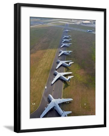 C-5 Galaxies Align On the Runway-Stocktrek Images-Framed Photographic Print
