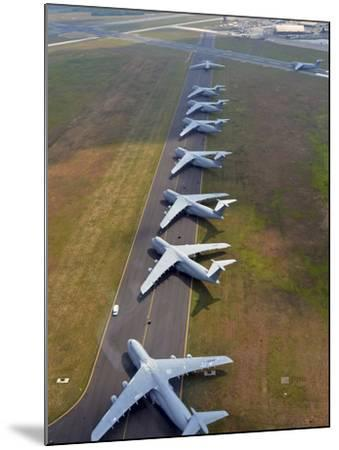 C-5 Galaxies Align On the Runway-Stocktrek Images-Mounted Photographic Print