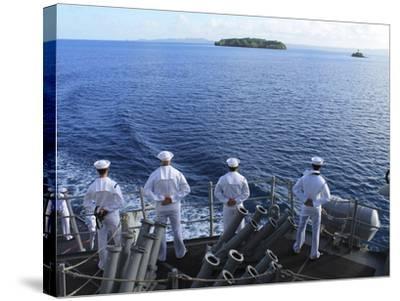 Sailors Man the Rails Aboard Guided-missile Destroyer USS Higgins-Stocktrek Images-Stretched Canvas Print