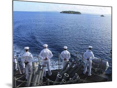 Sailors Man the Rails Aboard Guided-missile Destroyer USS Higgins-Stocktrek Images-Mounted Photographic Print