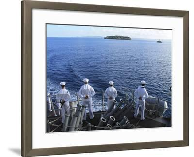 Sailors Man the Rails Aboard Guided-missile Destroyer USS Higgins-Stocktrek Images-Framed Photographic Print