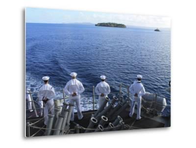 Sailors Man the Rails Aboard Guided-missile Destroyer USS Higgins-Stocktrek Images-Metal Print