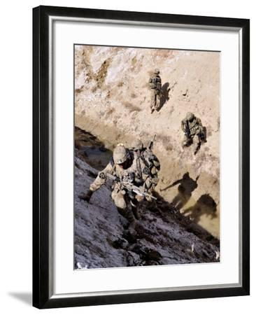 Soldiers Approach a Suspected Weapons Cache in Afghanistan-Stocktrek Images-Framed Photographic Print