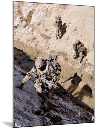 Soldiers Approach a Suspected Weapons Cache in Afghanistan-Stocktrek Images-Mounted Photographic Print