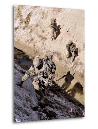 Soldiers Approach a Suspected Weapons Cache in Afghanistan-Stocktrek Images-Metal Print
