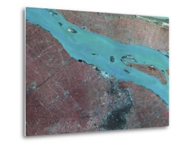Satellite View of Shanghai, China-Stocktrek Images-Metal Print