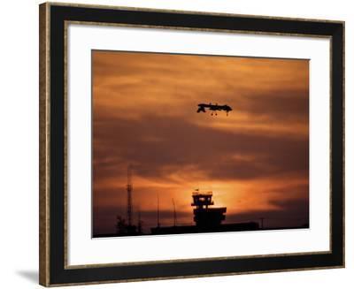 A MQ-1 Predator Over COB Speicher at Sunset, Tikrit, Iraq-Stocktrek Images-Framed Photographic Print