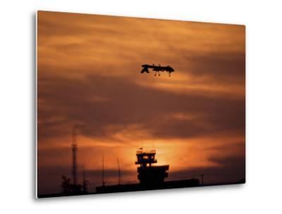 A MQ-1 Predator Over COB Speicher at Sunset, Tikrit, Iraq-Stocktrek Images-Metal Print