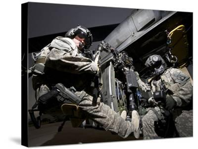 U.S. Army Crew Strapped Into the Medevac Hoist of a UH-60L Black Hawk-Stocktrek Images-Stretched Canvas Print