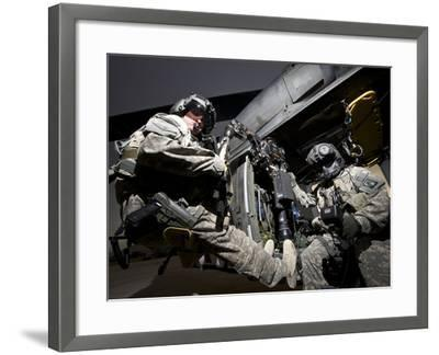 U.S. Army Crew Strapped Into the Medevac Hoist of a UH-60L Black Hawk-Stocktrek Images-Framed Photographic Print