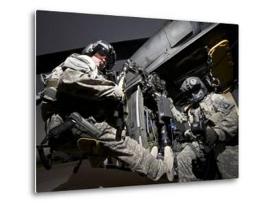 U.S. Army Crew Strapped Into the Medevac Hoist of a UH-60L Black Hawk-Stocktrek Images-Metal Print
