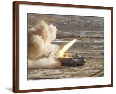 An Israel Defense Force Puma M26 Launches a Mine Clearing Line Charge-Stocktrek Images-Framed Photographic Print