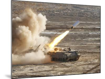 An Israel Defense Force Puma M26 Launches a Mine Clearing Line Charge-Stocktrek Images-Mounted Photographic Print