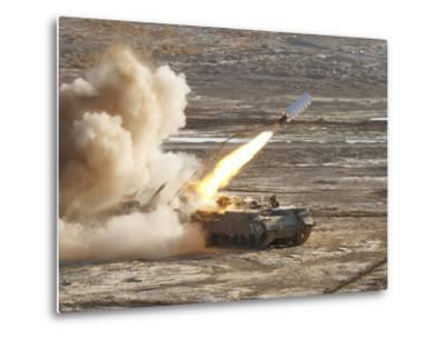 An Israel Defense Force Puma M26 Launches a Mine Clearing Line Charge-Stocktrek Images-Metal Print