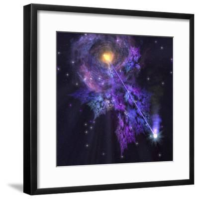 A Shooting Star Radiates Out from a Black Hole in the Center of a Galaxy-Stocktrek Images-Framed Photographic Print