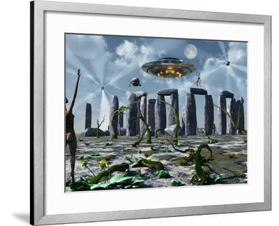 Alien Interdimensional Beings Recharge Their Vehicles at Stonehenge-Stocktrek Images-Framed Photographic Print
