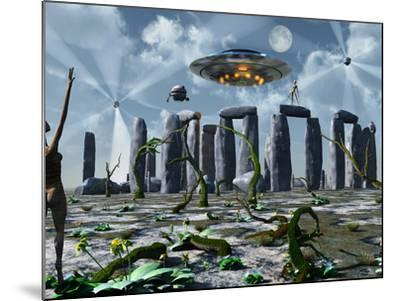 Alien Interdimensional Beings Recharge Their Vehicles at Stonehenge-Stocktrek Images-Mounted Photographic Print