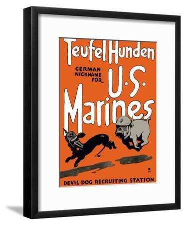 Vintage World War One Poster of a Marine Corps Bulldog Chasing a German Dachshund-Stocktrek Images-Framed Photographic Print