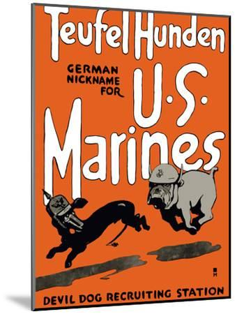 Vintage World War One Poster of a Marine Corps Bulldog Chasing a German Dachshund-Stocktrek Images-Mounted Photographic Print