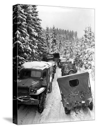 Deep Snow Banks On a Narrow Road Halt Military Vehicles in Belgium-Stocktrek Images-Stretched Canvas Print