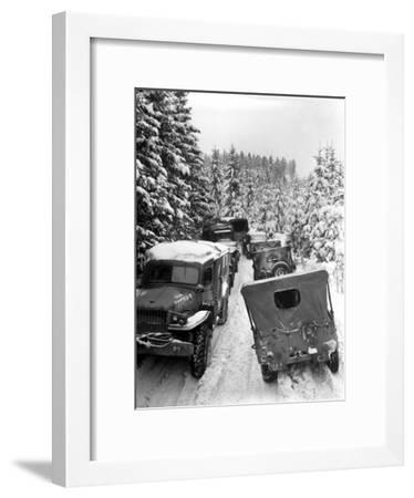 Deep Snow Banks On a Narrow Road Halt Military Vehicles in Belgium-Stocktrek Images-Framed Photographic Print