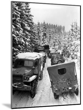 Deep Snow Banks On a Narrow Road Halt Military Vehicles in Belgium-Stocktrek Images-Mounted Photographic Print