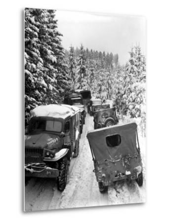 Deep Snow Banks On a Narrow Road Halt Military Vehicles in Belgium-Stocktrek Images-Metal Print