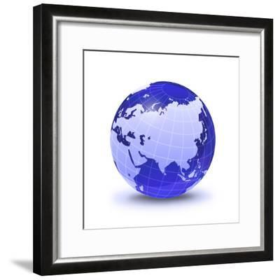 Stylized Earth Globe with Grid, Showing Asia And Europe-Stocktrek Images-Framed Photographic Print