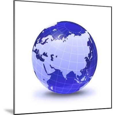 Stylized Earth Globe with Grid, Showing Asia And Europe-Stocktrek Images-Mounted Photographic Print