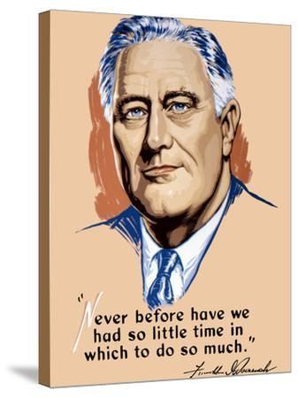 Vintage World War II Artwork of President Franklin Delano Roosevelt-Stocktrek Images-Stretched Canvas Print