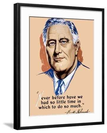 Vintage World War II Artwork of President Franklin Delano Roosevelt-Stocktrek Images-Framed Photographic Print