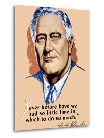 Vintage World War II Artwork of President Franklin Delano Roosevelt-Stocktrek Images-Metal Print