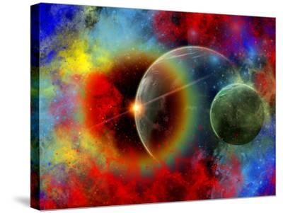 A Distant Alien World And It's Moon Surrounded by Nebulous Gas Clouds-Stocktrek Images-Stretched Canvas Print