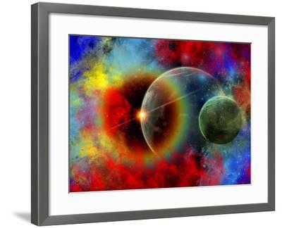 A Distant Alien World And It's Moon Surrounded by Nebulous Gas Clouds-Stocktrek Images-Framed Photographic Print