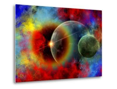 A Distant Alien World And It's Moon Surrounded by Nebulous Gas Clouds-Stocktrek Images-Metal Print