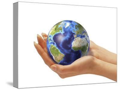 Woman's Hands Holding An Earth Globe-Stocktrek Images-Stretched Canvas Print