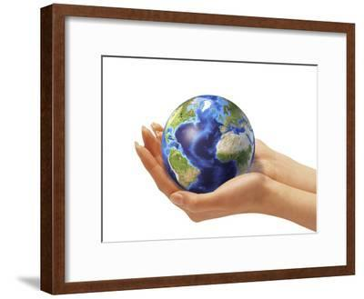 Woman's Hands Holding An Earth Globe-Stocktrek Images-Framed Photographic Print