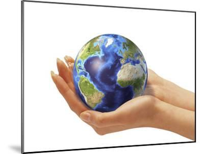 Woman's Hands Holding An Earth Globe-Stocktrek Images-Mounted Photographic Print