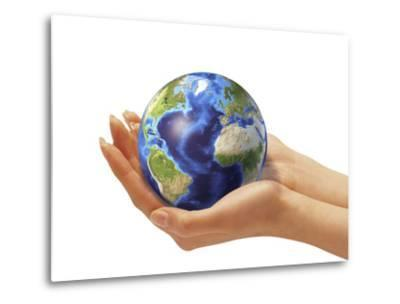 Woman's Hands Holding An Earth Globe-Stocktrek Images-Metal Print