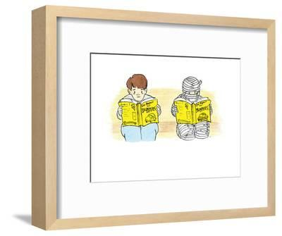 A person and a mummy reading self help books. - Cartoon-Emily Flake-Framed Premium Giclee Print