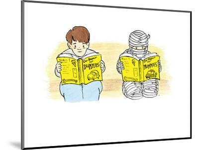 A person and a mummy reading self help books. - Cartoon-Emily Flake-Mounted Premium Giclee Print