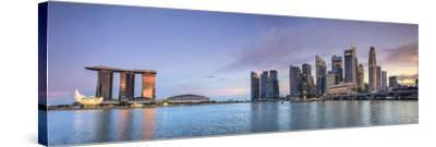 Singapore, Marina and City Skyline-Michele Falzone-Stretched Canvas Print