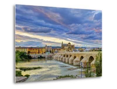 Roman Bridge Over Guadalquivir River and Mezquita, Cordoba, Cordoba Province, Andalucia, Spain-Alan Copson-Metal Print