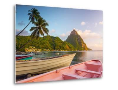 Caribbean, St Lucia, Soufriere Bay, Soufriere Beach and Petit Piton, Traditional Fishing Boats-Alan Copson-Metal Print