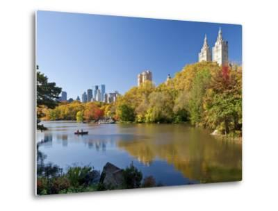 Central Park and Buildings Viewed Across Lake in Autumn, Manhattan, New York City-Gavin Hellier-Metal Print