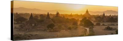 Ancient Temple City of Bagan (Also Pagan) and Ox Cart, Myanmar (Burma)-Peter Adams-Stretched Canvas Print